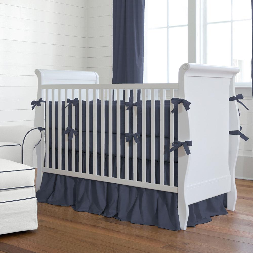 Product image for Solid Navy Crib Comforter with Piping