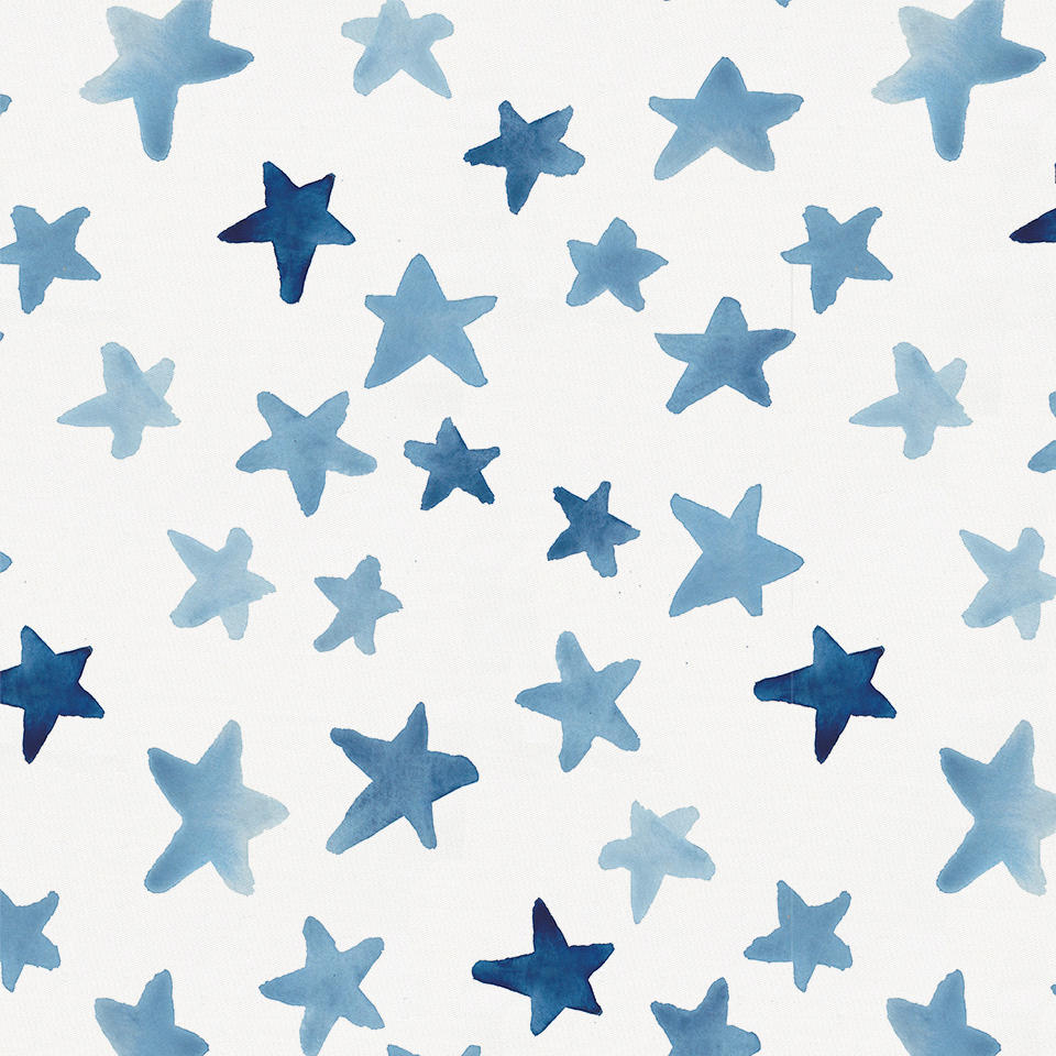Product image for Blue Watercolor Stars Crib Skirt Single-Pleat
