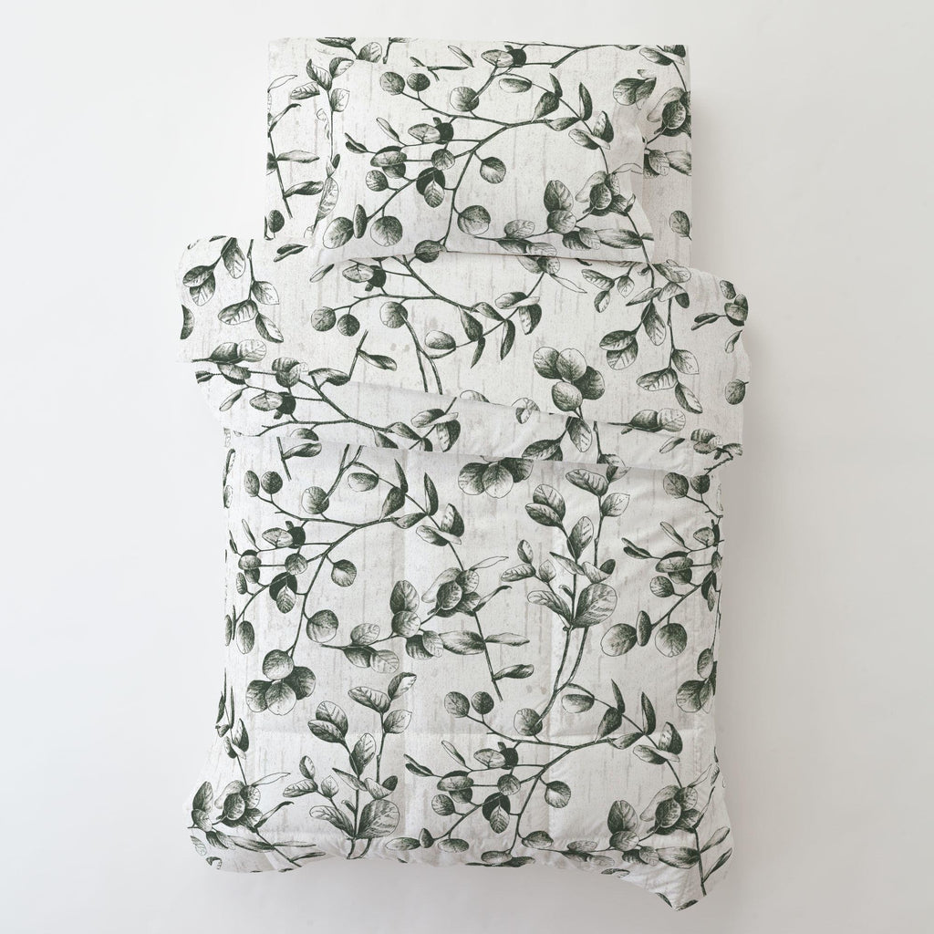 Product image for Dark Green Eucalyptus Toddler Sheet Bottom Fitted