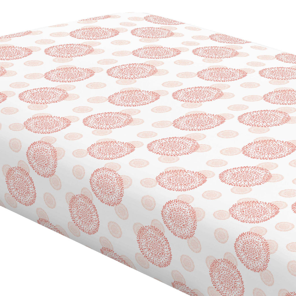Product image for Light Coral and Peach Dandelion Crib Sheet