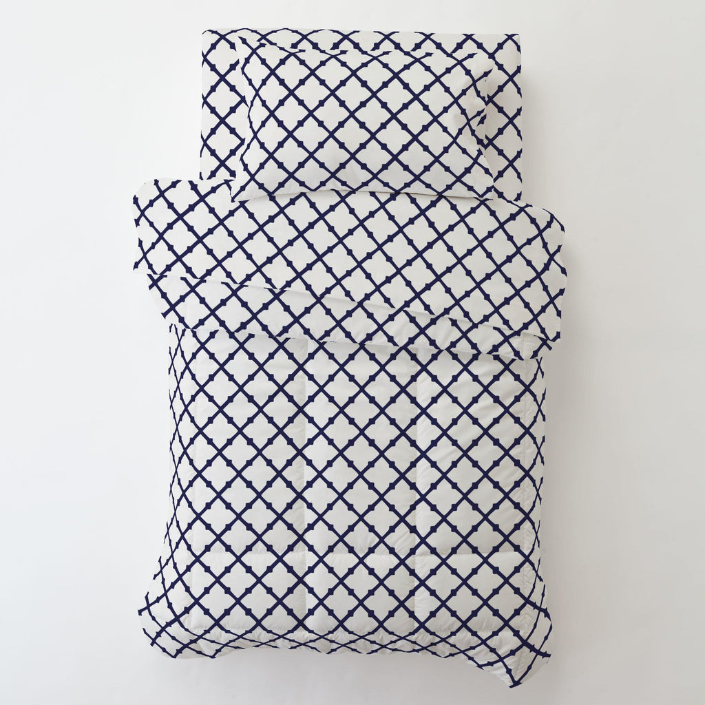 Product image for Windsor Navy Lattice Toddler Pillow Case
