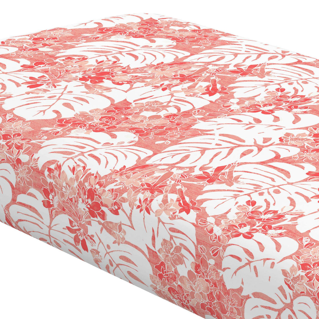 Product image for Light Coral Tropical Crib Sheet