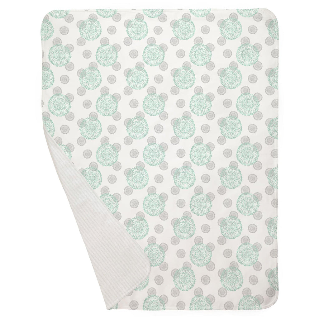 Product image for Mint and Silver Gray Dandelion Baby Blanket