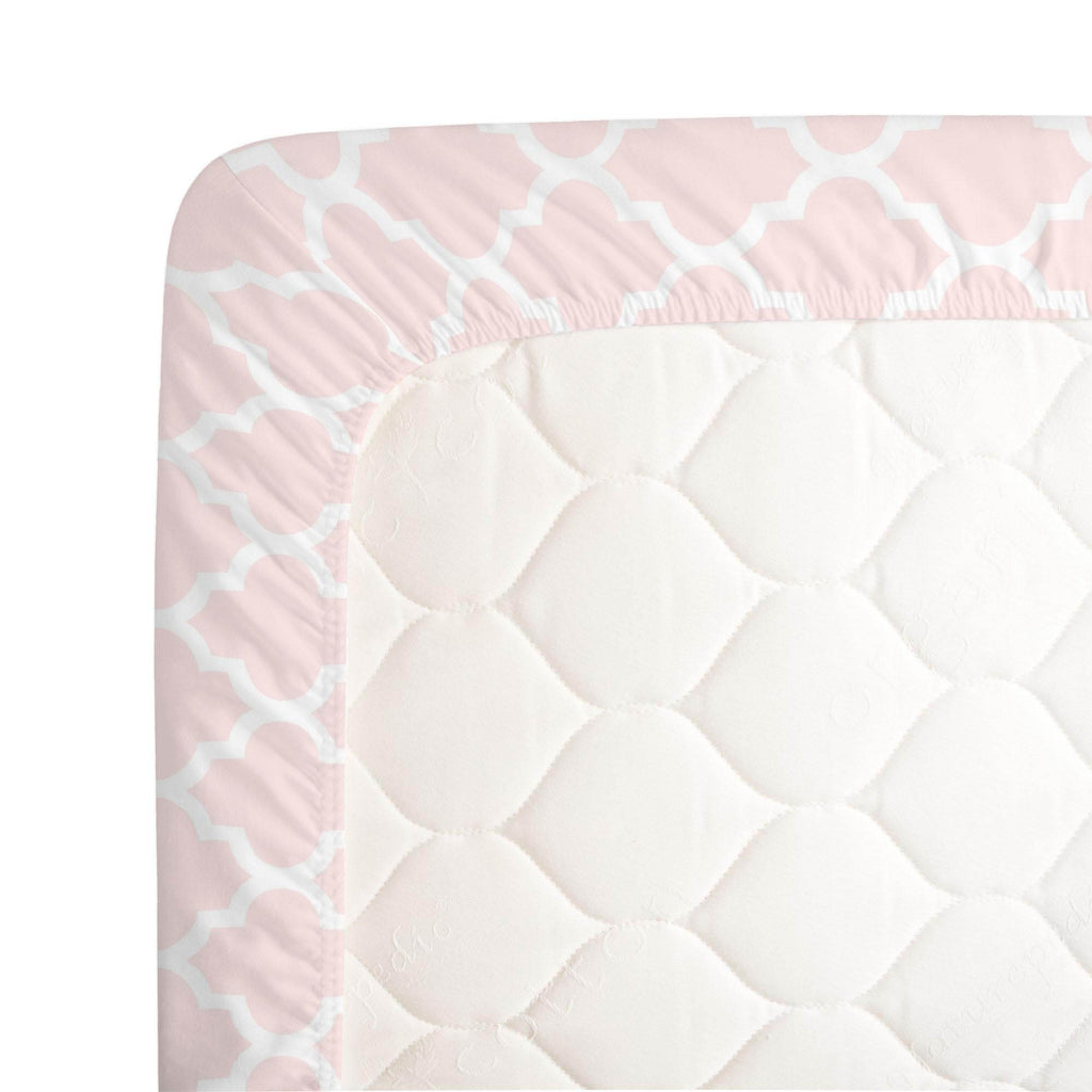 Product image for Blush Pink Hand Drawn Quatrefoil Crib Sheet