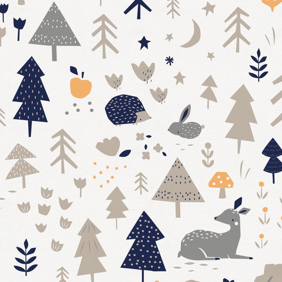 Product image for Taupe and Windsor Navy Baby Woodland Toddler Pillow Case