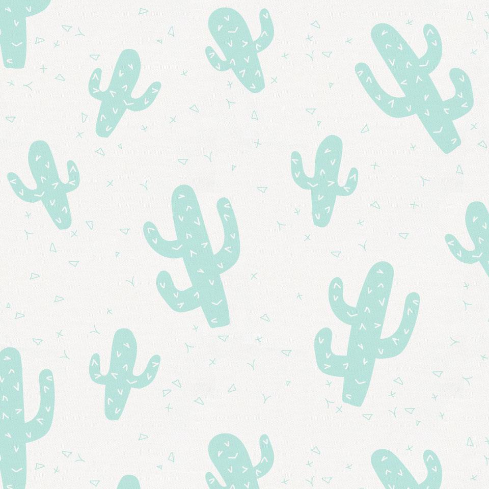 Product image for Icy Mint Cactus Toddler Sheet Bottom Fitted