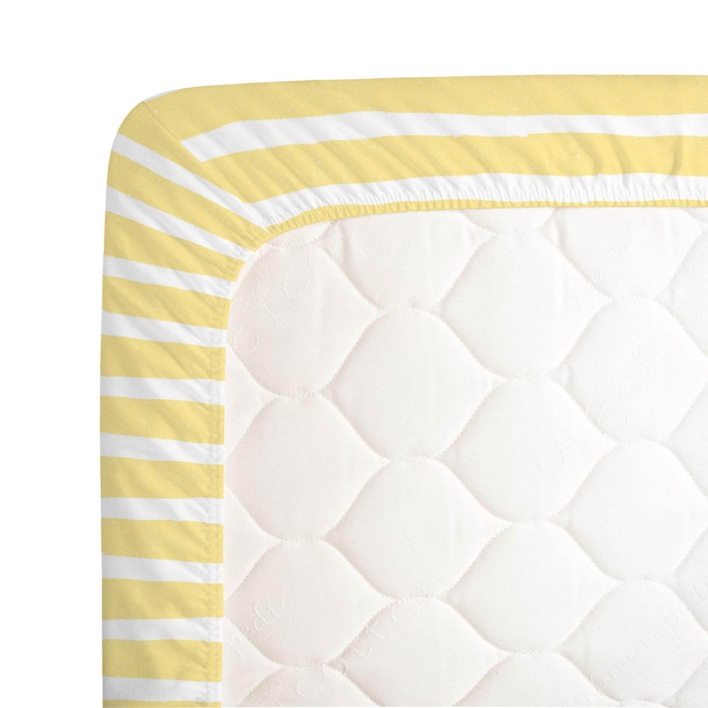 Product image for Banana Yellow Weathered Stripe Crib Sheet