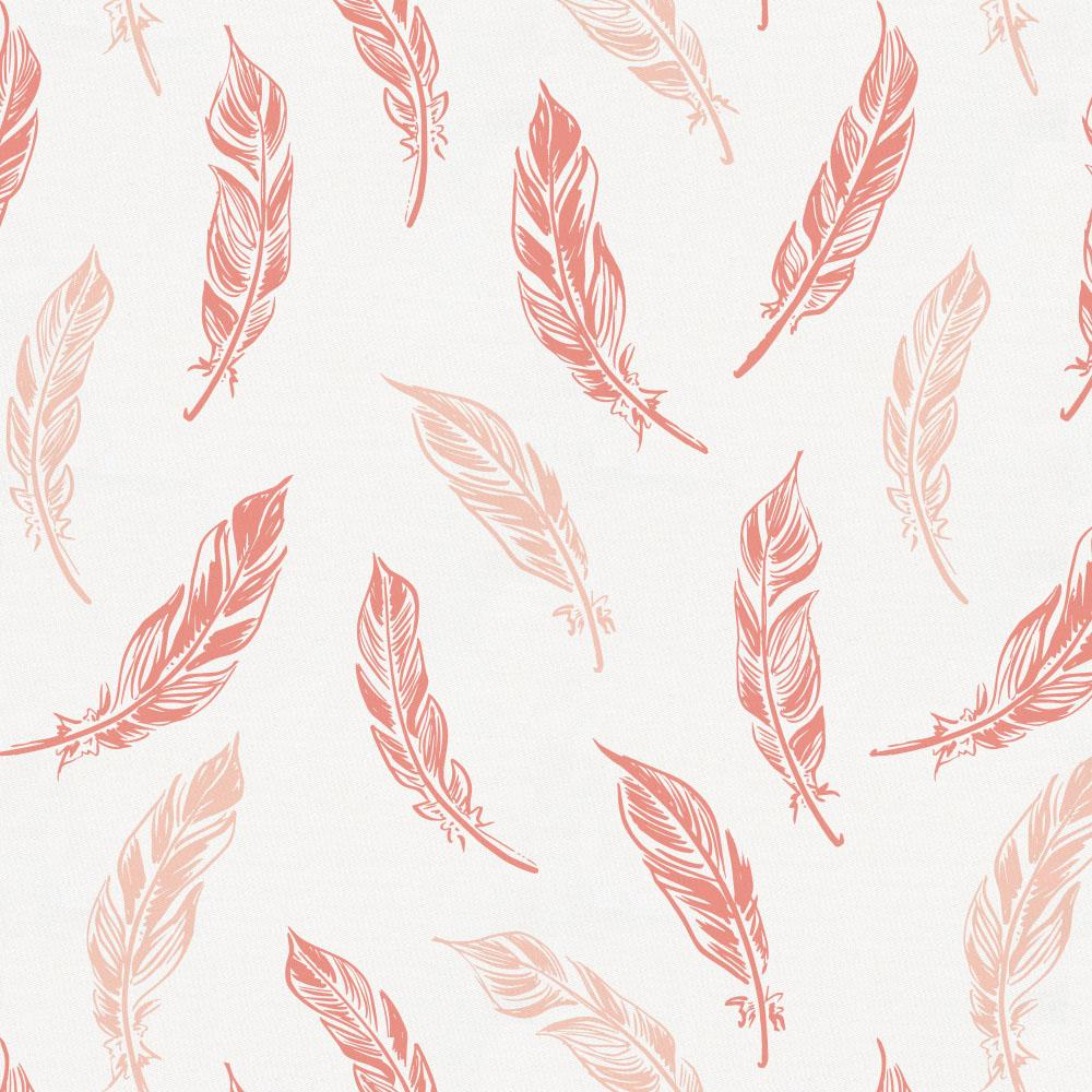 Product image for Light Coral and Peach Hand Drawn Feathers Toddler Sheet Bottom Fitted