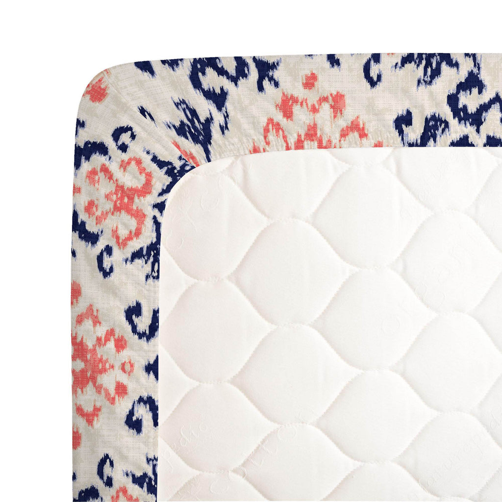 Product image for Navy and Coral Ikat Damask Crib Sheet