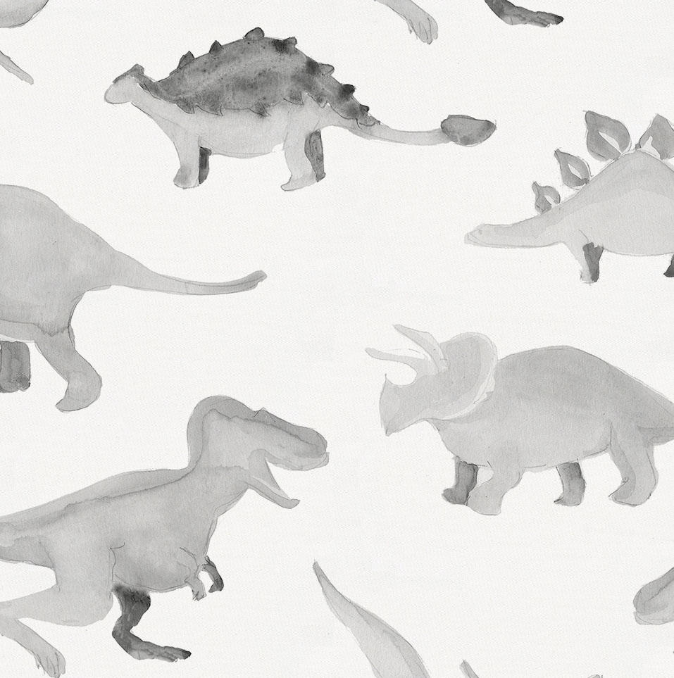 Product image for Gray Watercolor Dinosaurs Toddler Sheet Bottom Fitted