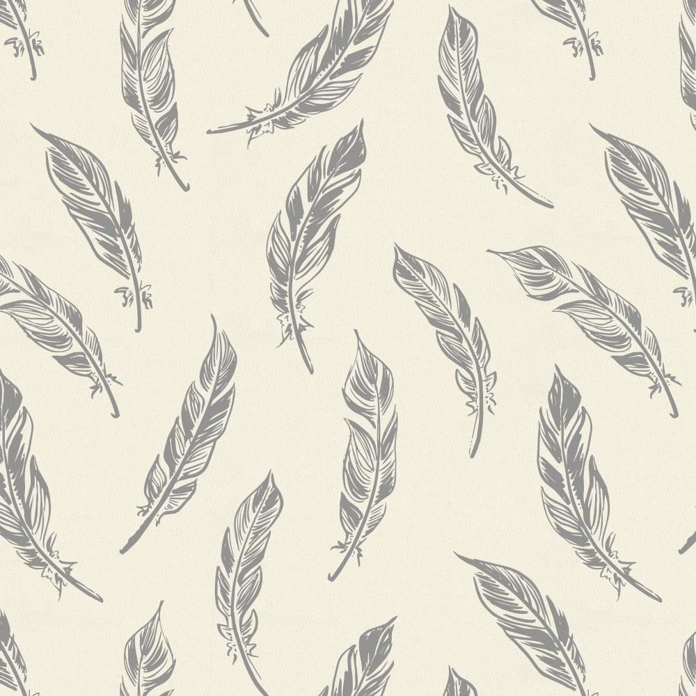 Product image for Natural Gray Feathers Toddler Sheet Bottom Fitted