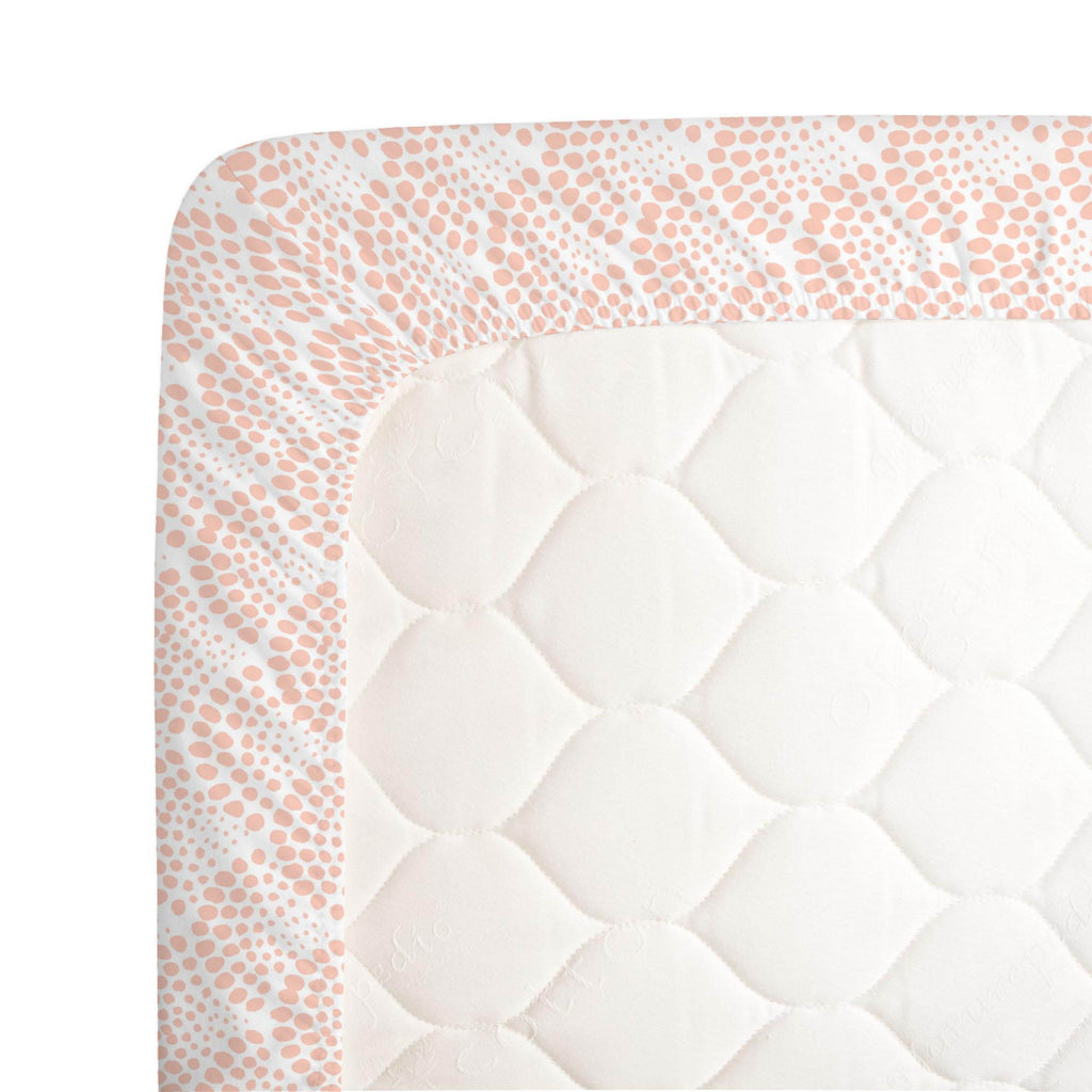 Product image for Peach Scallop Dot Crib Sheet