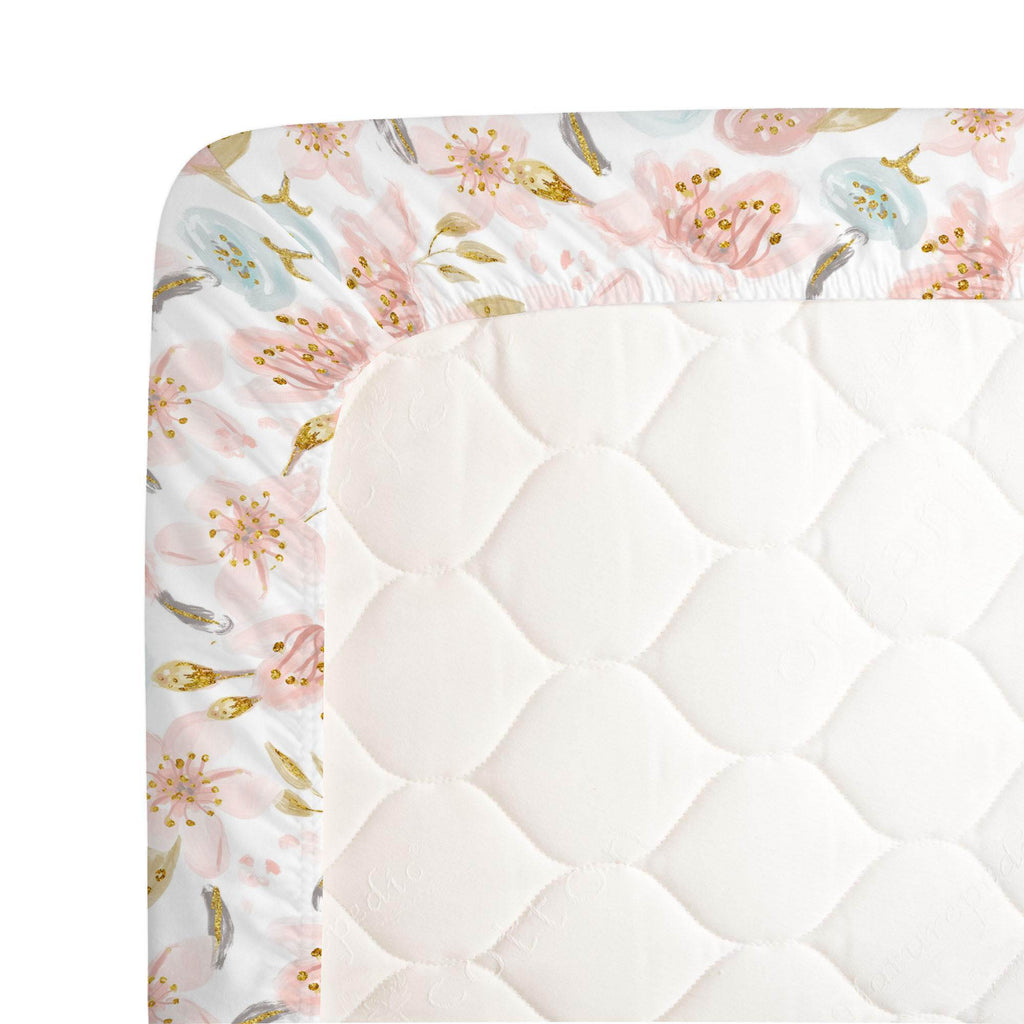 Product image for Pink Hawaiian Floral Crib Sheet