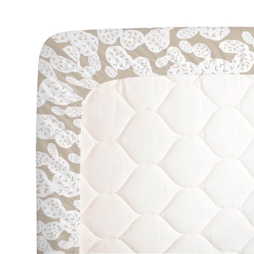 Product image for Taupe Prickly Pear Crib Sheet