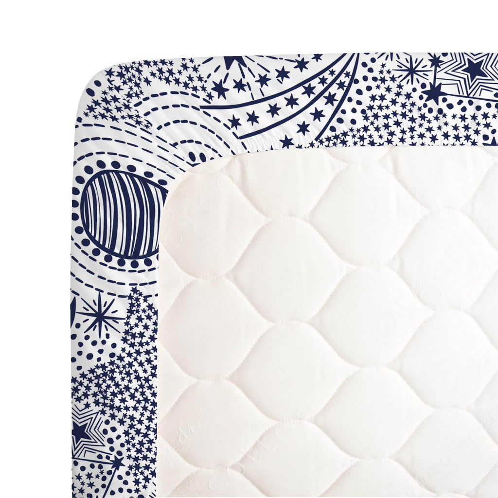 Product image for Navy Galaxy Crib Sheet