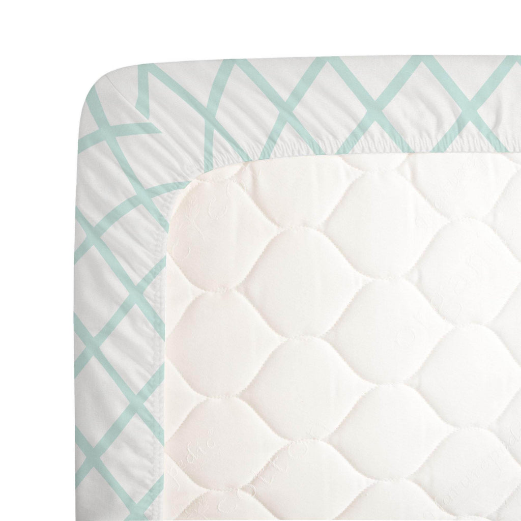Product image for Icy Mint Trellis Crib Sheet