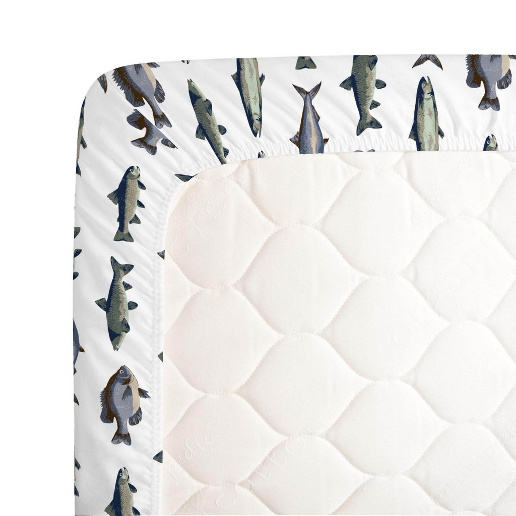 Product image for Navy and Seafoam Fish Crib Sheet