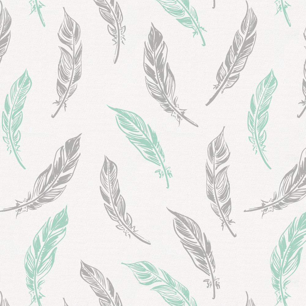 Product image for Mint and Silver Gray Hand Drawn Feathers Toddler Pillow Case