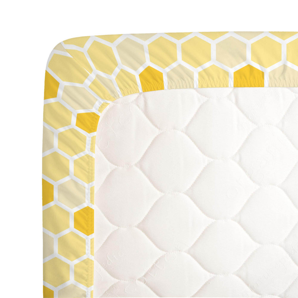 Product image for Yellow Honeycomb Crib Sheet