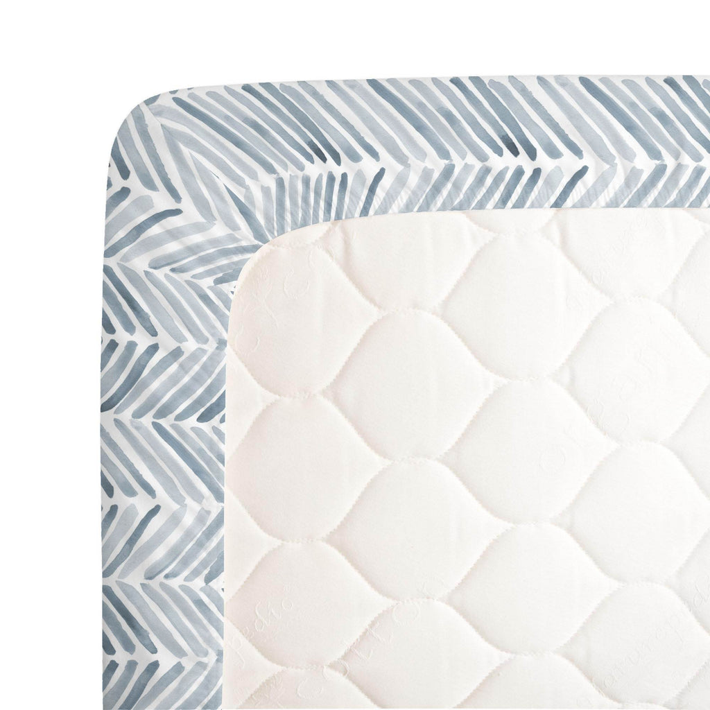 Product image for Steel Blue Painted Chevron Crib Sheet
