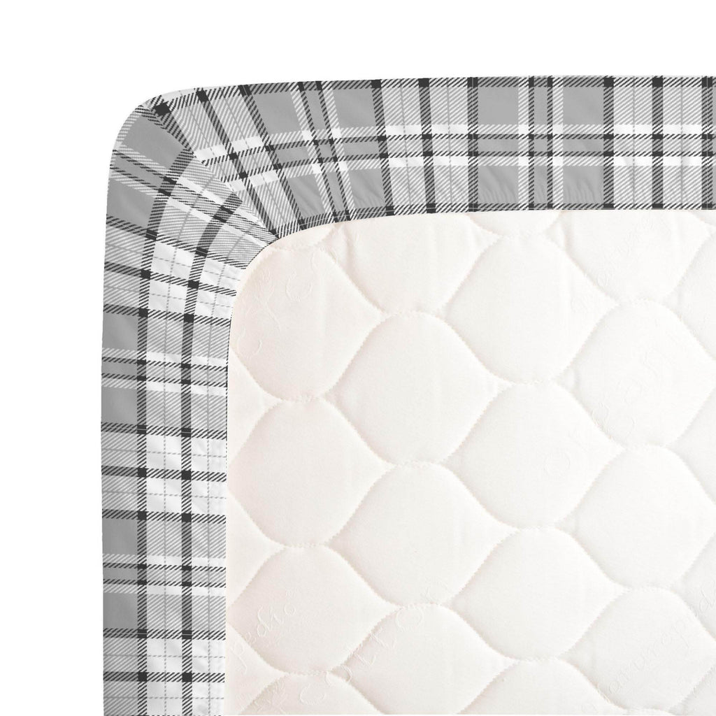 Product image for Gray Plaid Crib Sheet