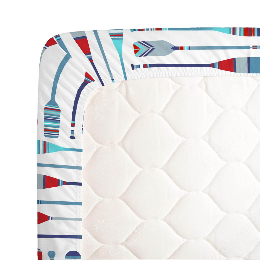 Product image for Red and Blue Oars Crib Sheet