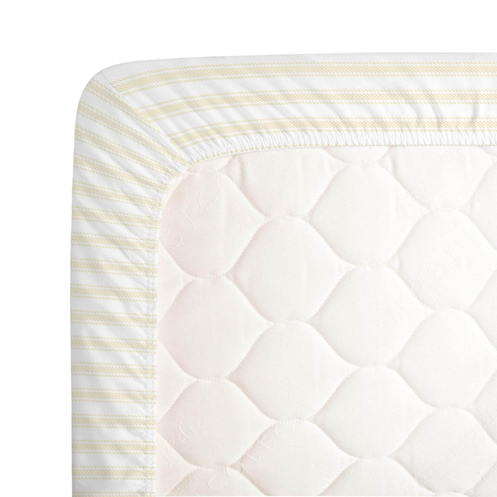Product image for Pale Yellow Ticking Stripe Crib Sheet