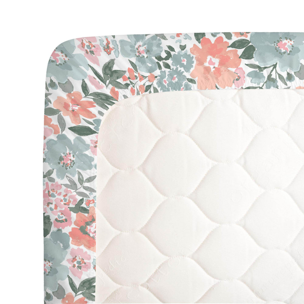 Product image for Peach Prairie Floral Crib Sheet