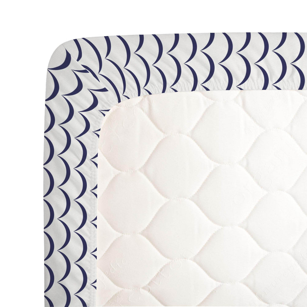Product image for White and Navy Waves Crib Sheet
