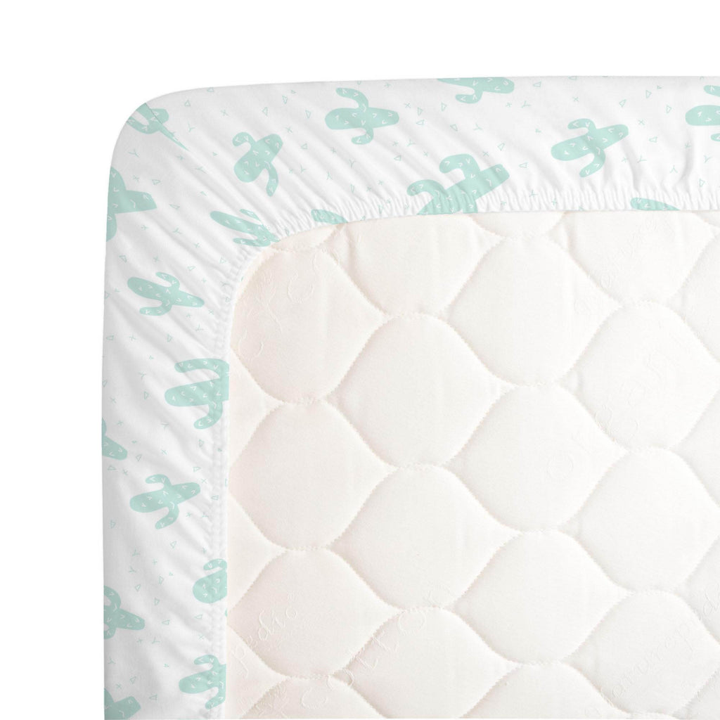 Product image for Icy Mint Cactus Crib Sheet