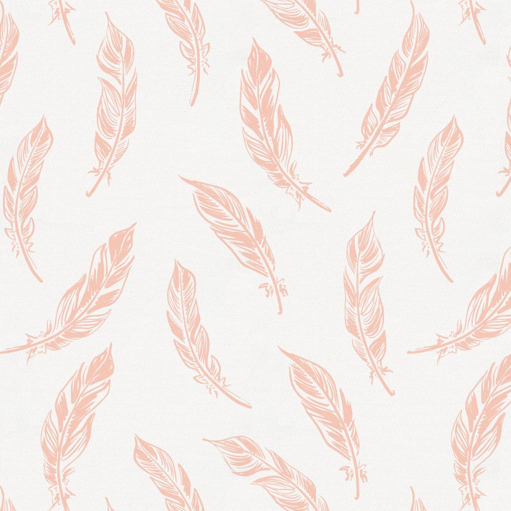 Product image for Peach Hand Drawn Feathers Toddler Sheet Bottom Fitted