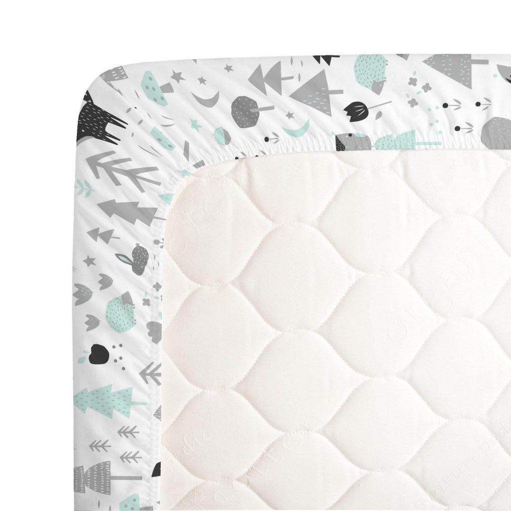 Product image for Icy Mint and Silver Gray Baby Woodland Crib Sheet