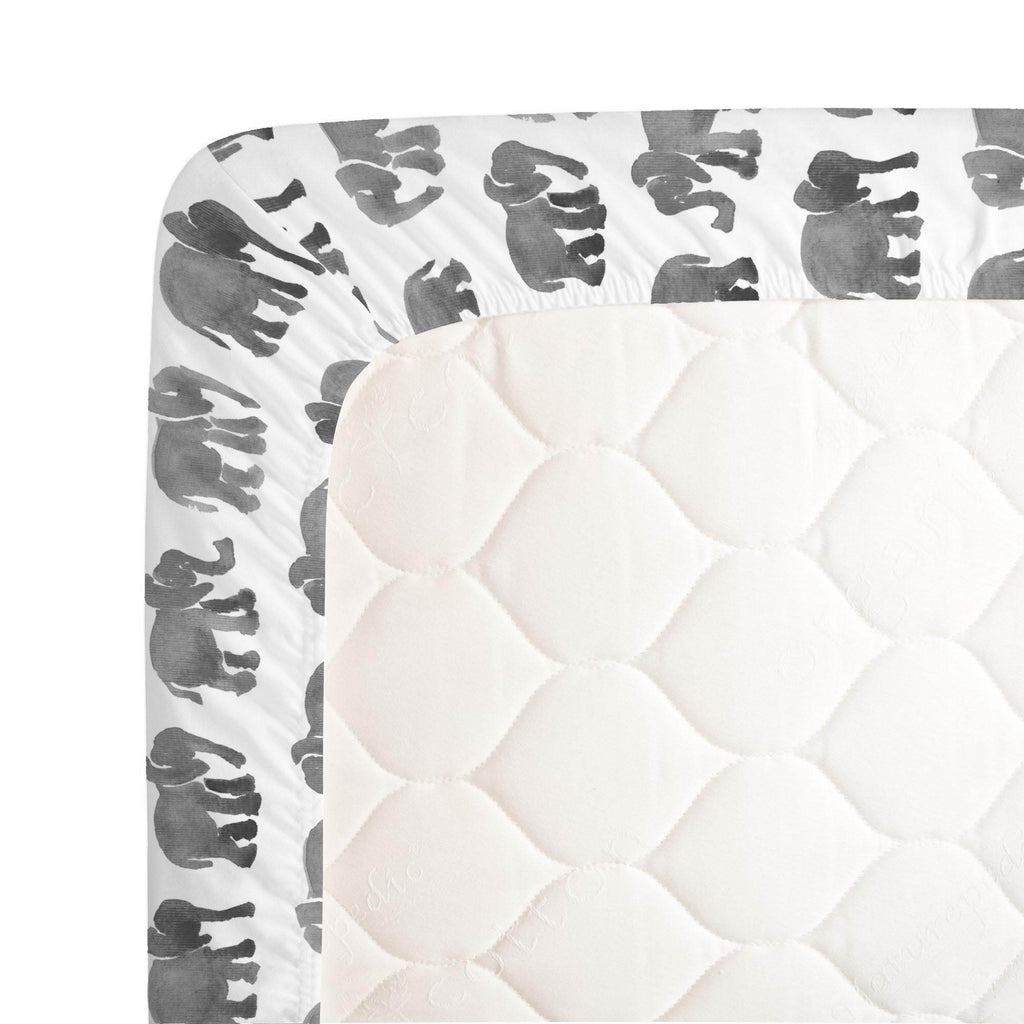 Product image for Gray Watercolor Elephants Crib Sheet