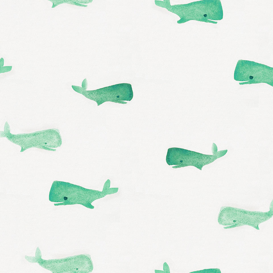 Product image for Mint Whale of a Tale Toddler Sheet Bottom Fitted