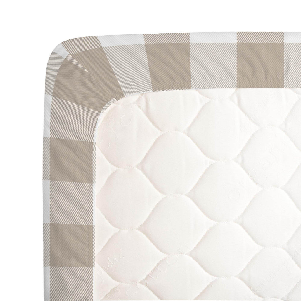 Product image for Taupe and White Buffalo Check Crib Sheet