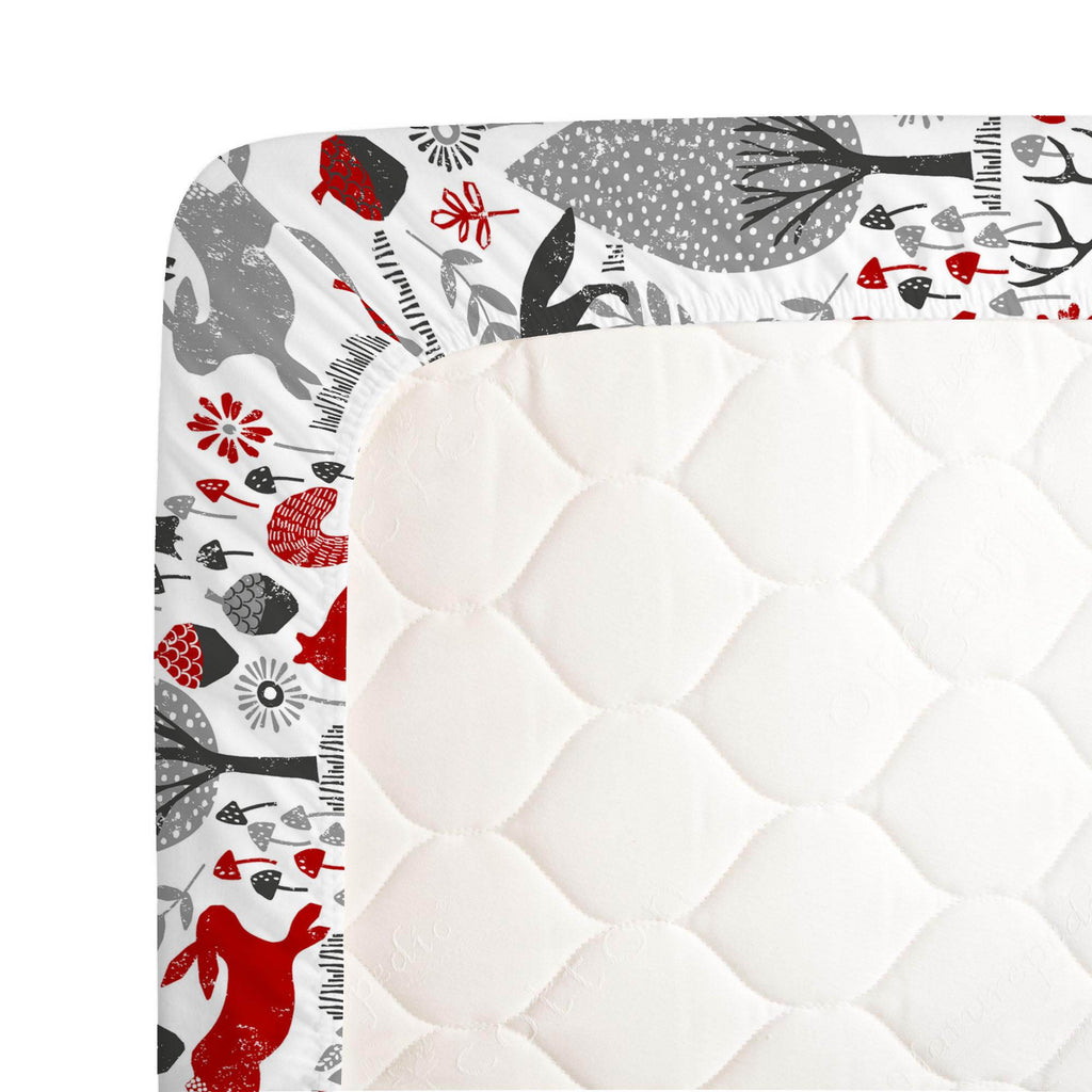 Product image for Red and Gray Woodland Animals Crib Sheet