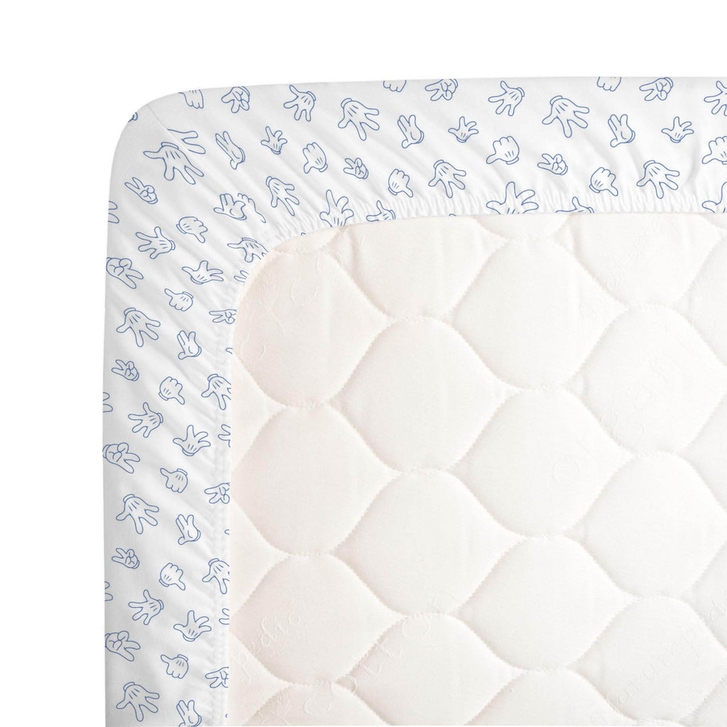 Product image for Disney© Blue Mickey Gloves Crib Sheet