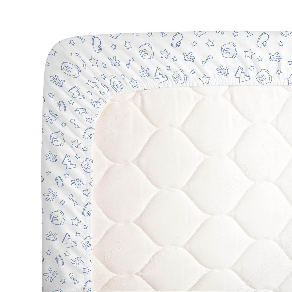Product image for Disney© Blue Mickey Icons Crib Sheet