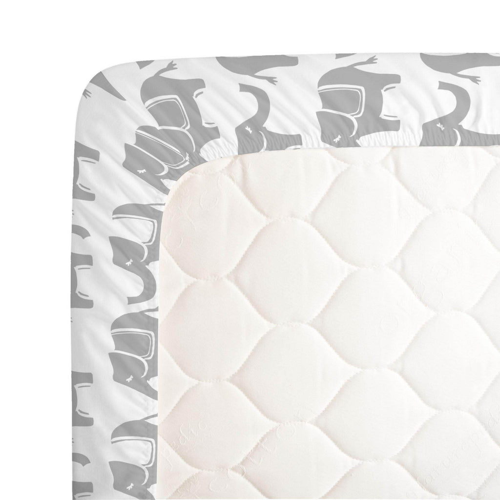 Product image for Silver Gray Marching Elephants Crib Sheet