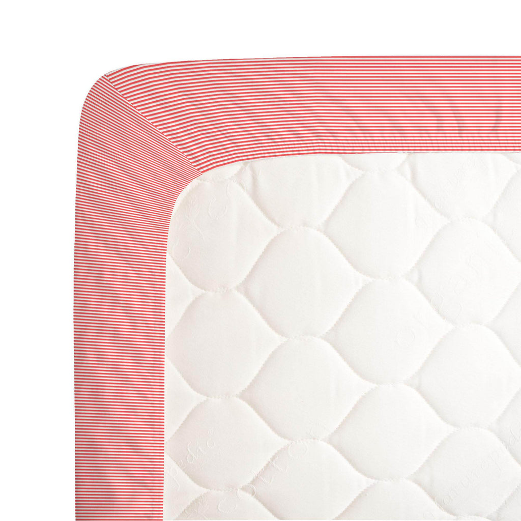 Product image for Coral Mini Stripe Crib Sheet