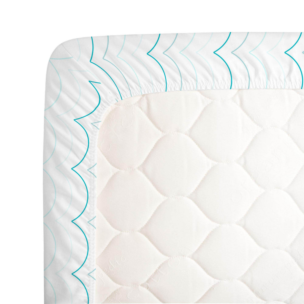 Product image for Teal Wave Stripe Crib Sheet
