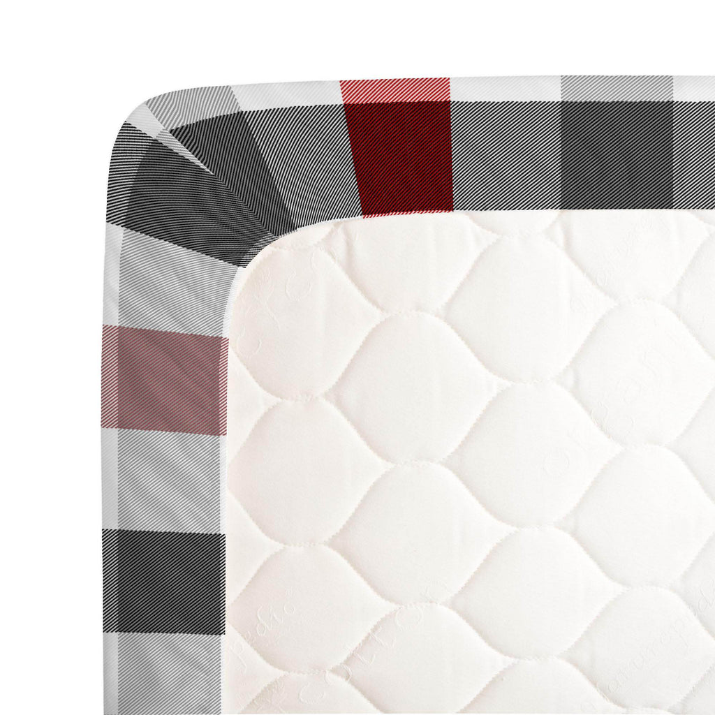 Product image for Red and Onyx Buffalo Check Crib Sheet
