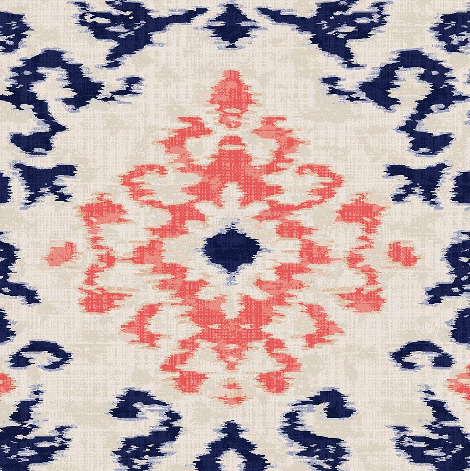 Product image for Navy and Coral Ikat Damask Crib Comforter with Piping