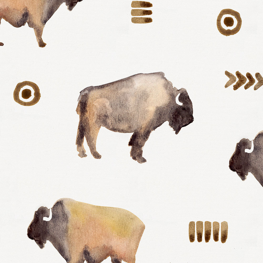 Product image for Watercolor Buffalo Toddler Sheet Bottom Fitted