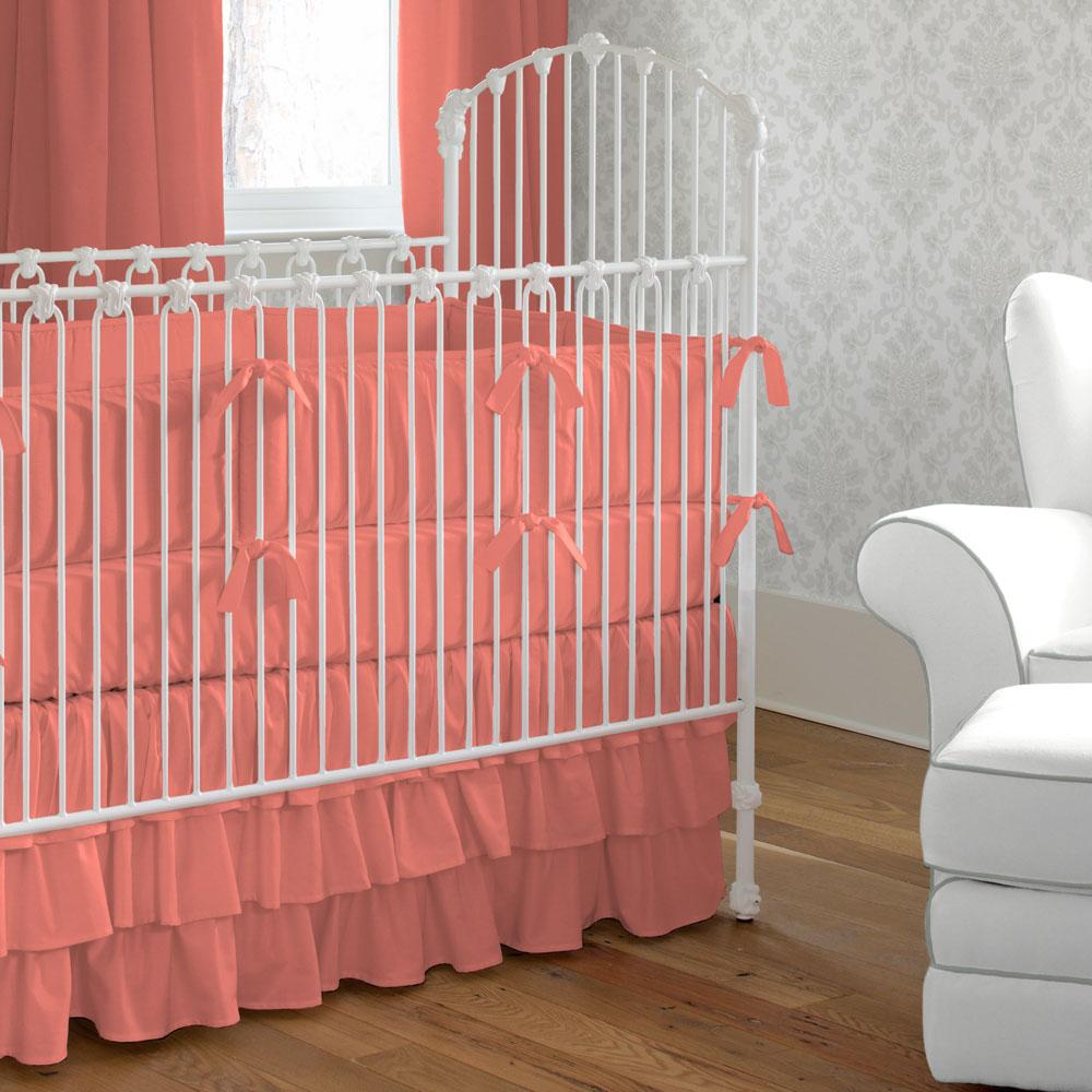 Product image for Solid Coral Crib Bumper