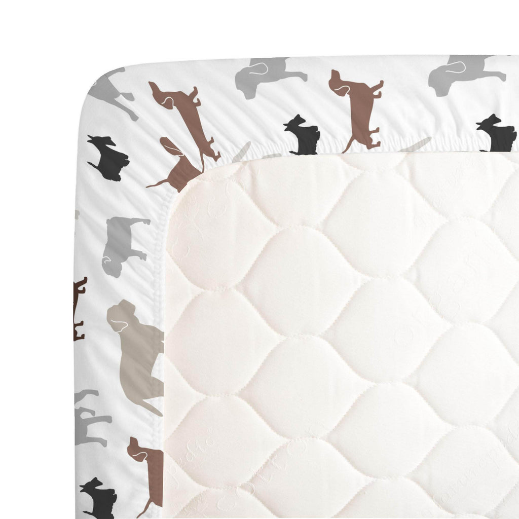 Product image for Brown and Gray Dogs Crib Sheet