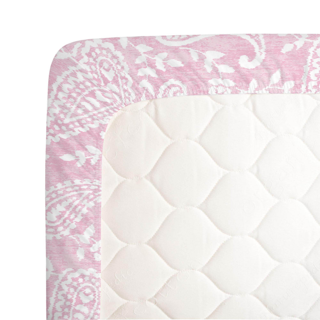 Product image for Pink Paisley Crib Sheet