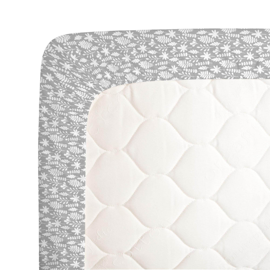 Product image for Gray and White Ferns Crib Sheet