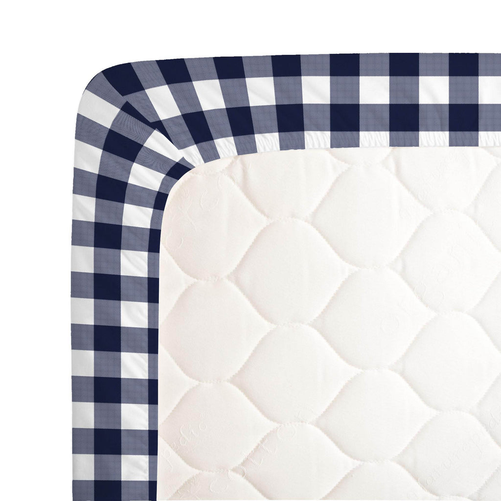 Product image for Windsor Navy Gingham Crib Sheet