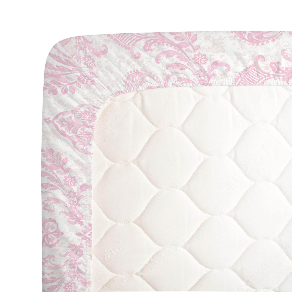 Product image for Pink Painted Damask Crib Sheet